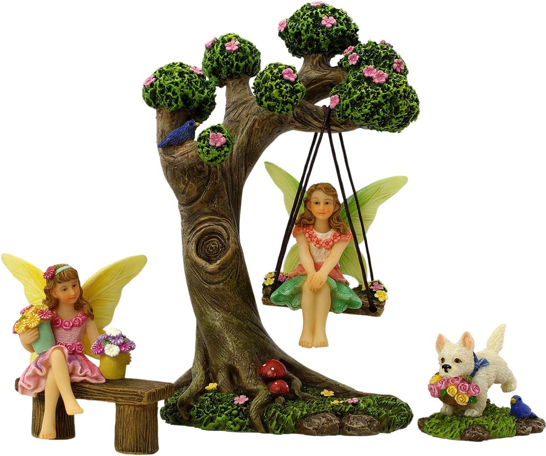 PRETMANNS Fairy Garden Fairies Accessories – Fairy Tree Swing Kit with Fairy Figurines for a Miniature Garden – 2 Fairys for a Fairy Garden and a Dog Figurine - 4 Piece Set