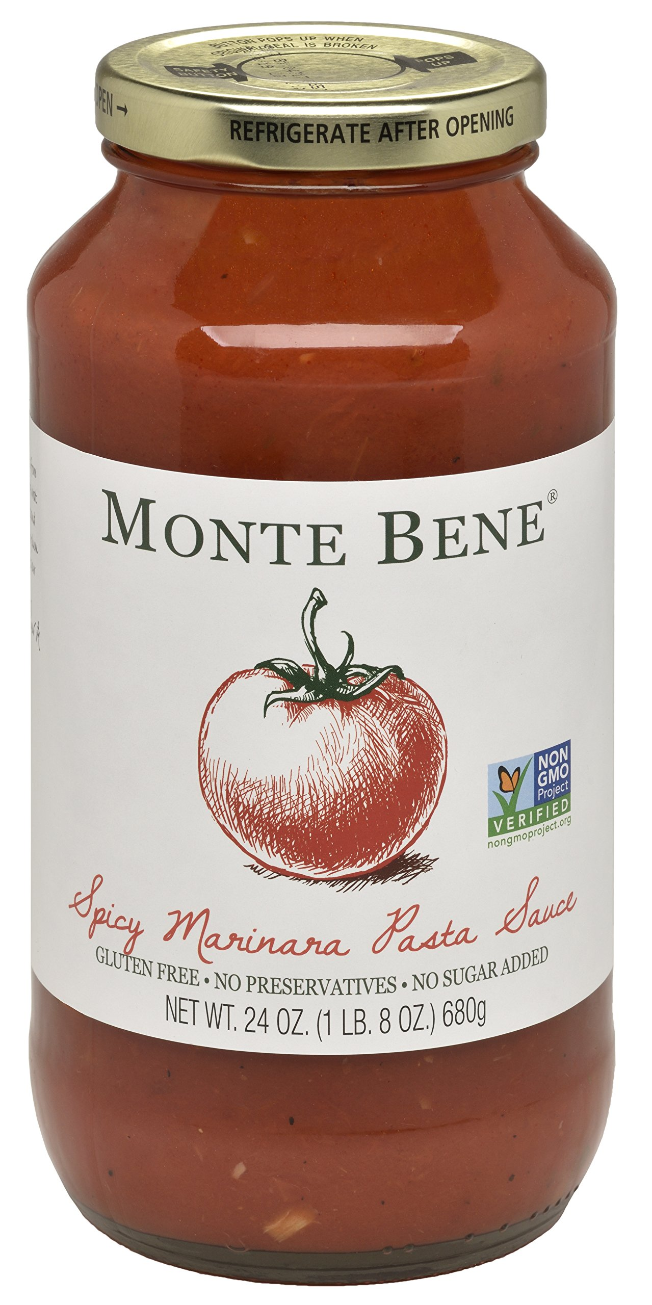 Monte Bene - Spicy Marinara Pasta Sauce - 24oz (Pack of 6) - Non GMO, Whole 30 Approved, Gluten Free by Monte Bene