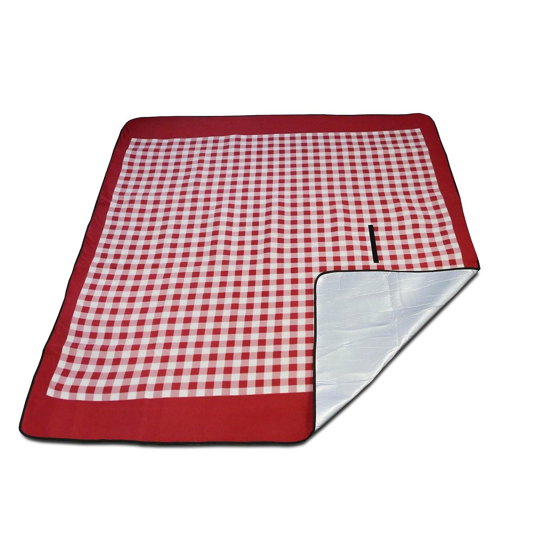 Luxamel Danura Picknickdecke Outdoor Fleece XXL W/ärmeisoliert Wasserdicht mit Praktischem Tragegriff 200x175cm blau//wei/ß