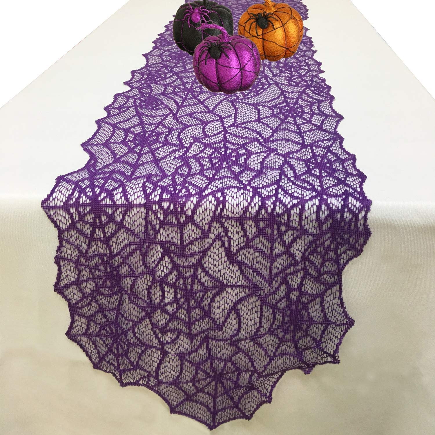 Joysail Halloween Table Runner - Purple Lace Spider Web Table Runner for Halloween Masquerade Scary Movie Nights, 13x72 Inch