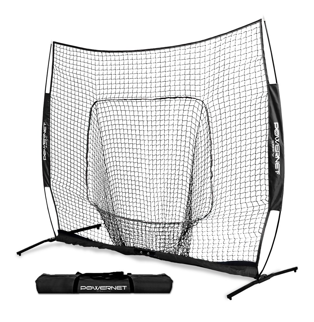 PowerNet 7x7 PRO Net with One Piece Frame (Black) | Baseball Softball Practice Net | Training Aid for Hitting Pitching Batting Fielding Portable Backstop | Bow Style Frame | Non-Tip Weighted Base by PowerNet