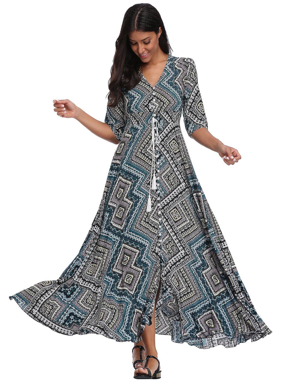 d1b472d319 Summer Floral Print Maxi Dress Women Button Up Split Long Flowy Bohemian  Beach Party Dresses at Amazon Women s Clothing store