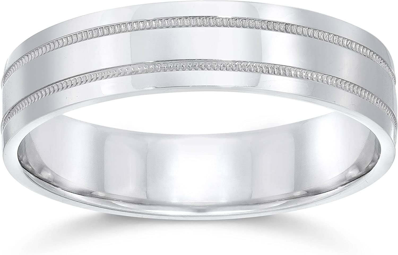 10K White Gold 5mm Milgrain Half Round Men/'sLadies Wedding Band Ring
