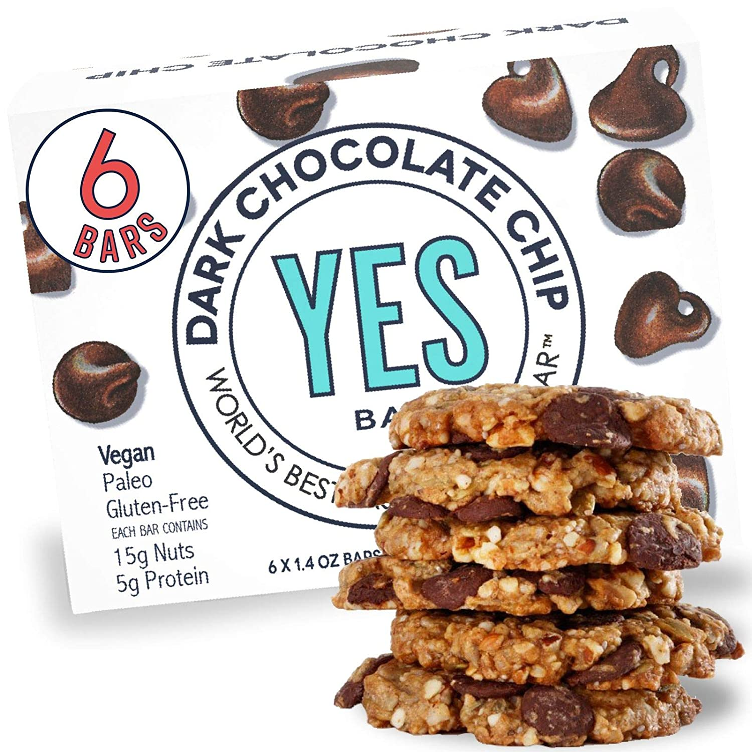 YES Bar – Dark Chocolate Chip –Plant Based Protein, Decadent Snack Bar –Vegan, Paleo, Gluten Free, Dairy Free, Low Sugar, Healthy Snack, Breakfast, Low Carb, Keto Friendly (Pack of 6)
