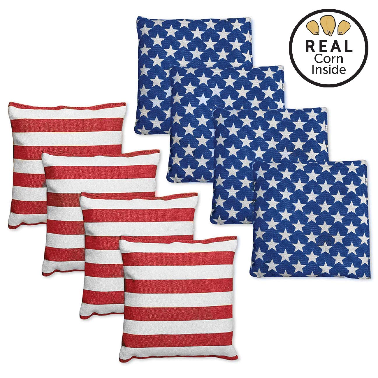 Corn Filled Cornhole Bags - Set of 8 Bright American Flag Bean Bags for Corn Hole Game - Regulation Size & Weight - 4 Stars and 4 Stripes by Play Platoon