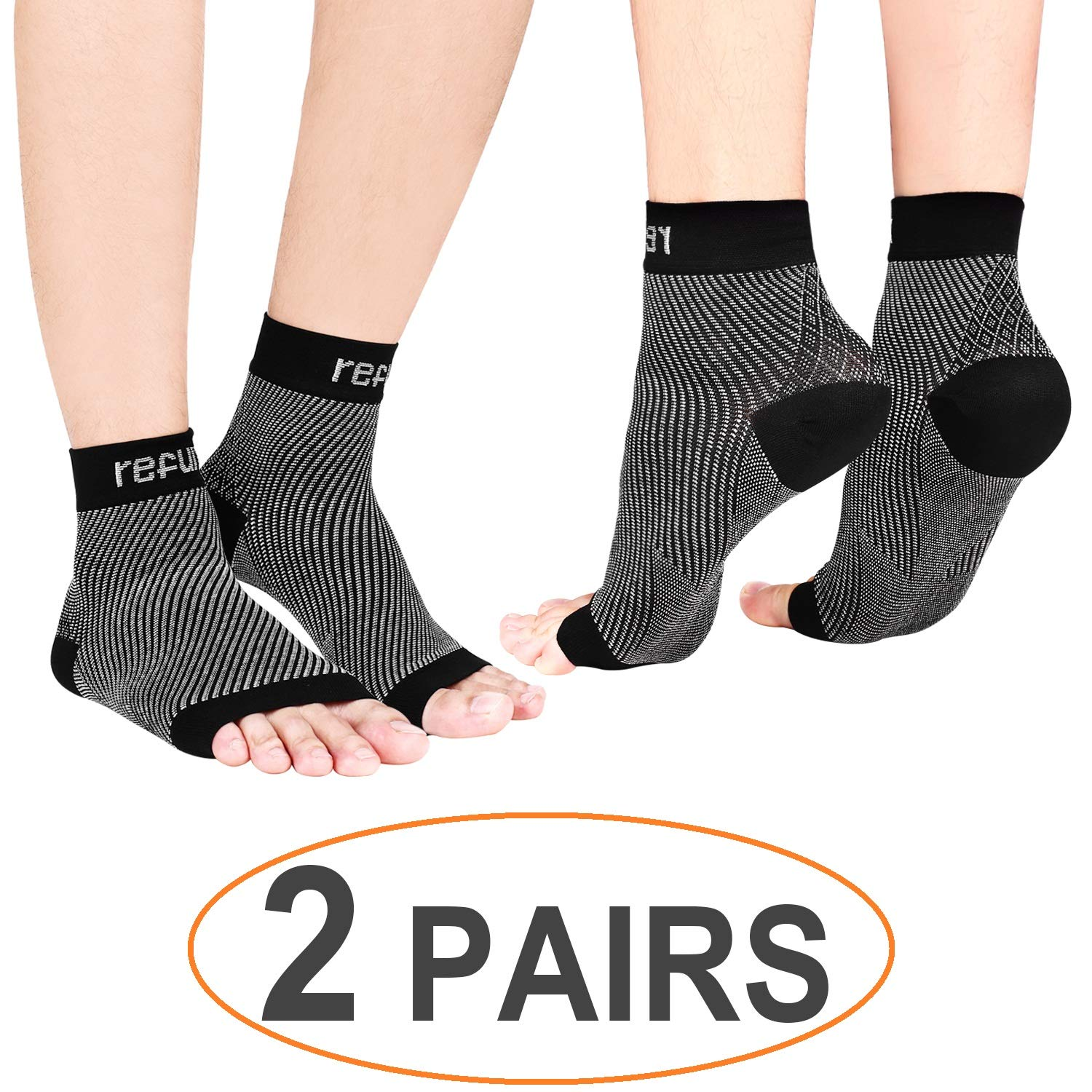 refun Plantar Fasciitis Socks (2 Pairs), Compression Foot Sleeves with Heel Arch & Ankle Support, Great Foot Care Compression Sleeve for Men & Women, Increase Blood Circulation, Relieve Arch Pain