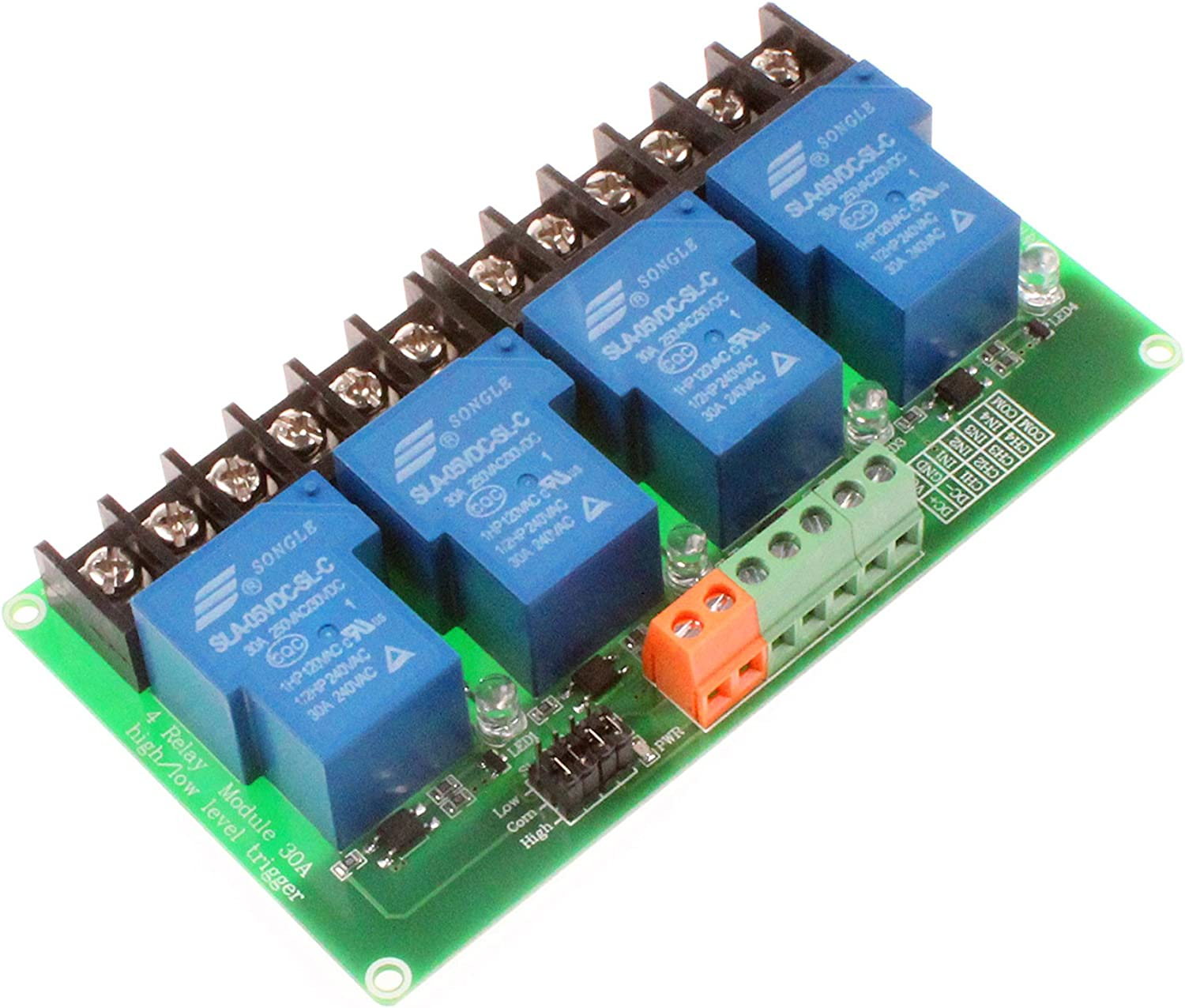AC 100-250V 30A 4 Channel Relay High Low Level Trigger Module for Home Industrial High Low Level Trigger Relay