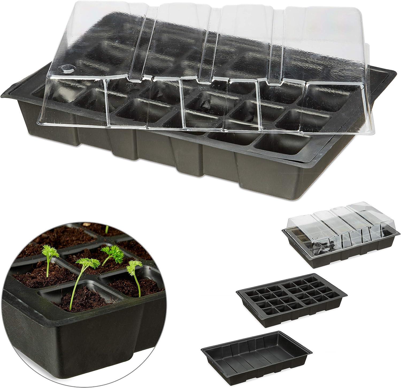 Relaxdays, Negro, 4,5 x 45 x 23 cm Semillero Mini con 24 Compartimentos, Tapa y Bandeja con Orificios, Plástico