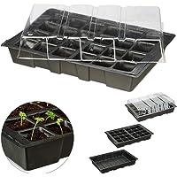 Relaxdays Semillero Mini con 24 Compartimentos, Tapa