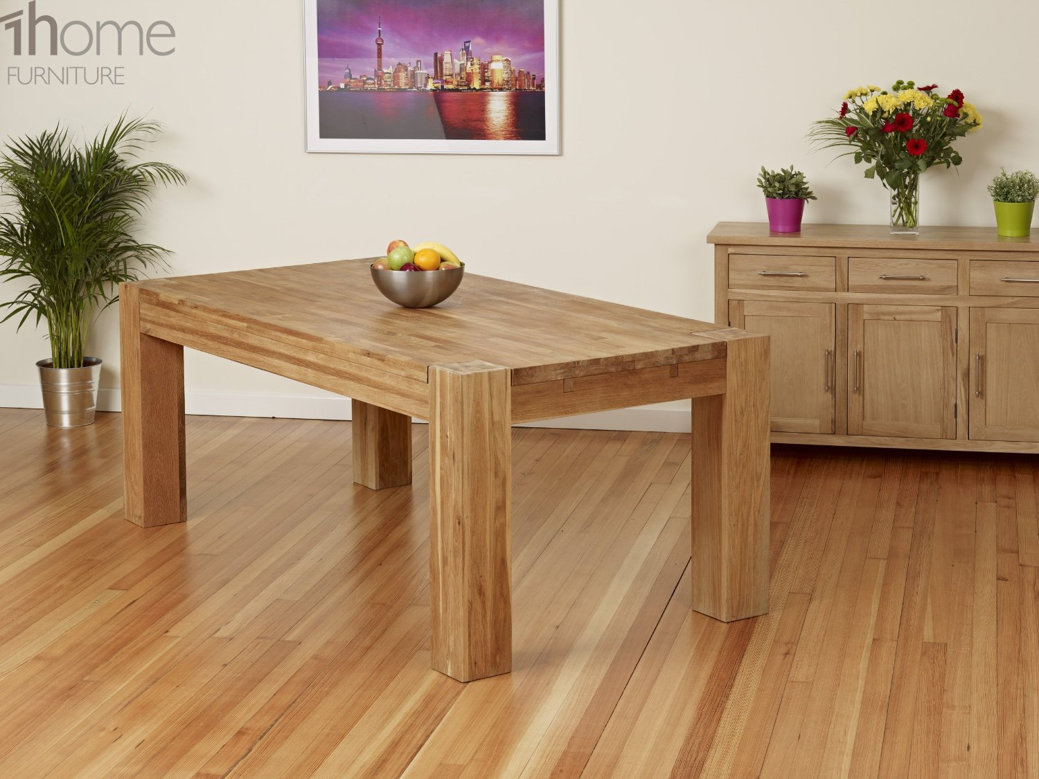 1home full solid oak dining table set with chunky legs room furniture 200cm table with 8 chairs amazoncouk kitchen u0026 home
