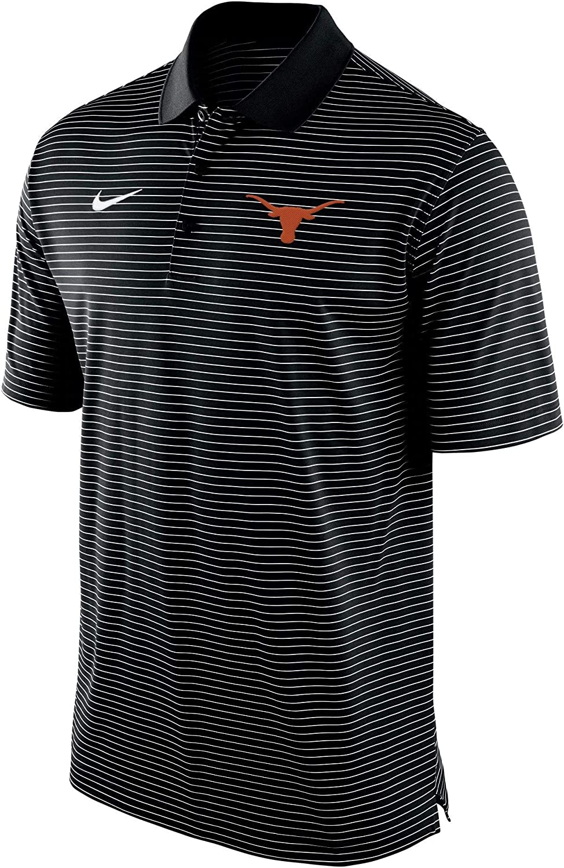 Nike Mens Texas Longhorns Stadium Striped Black Polo