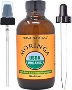 Prime Natural Organic Moringa Oil- Cold Pressed, Virgin, Unrefined (4oz/120ml) for Joints, Skin, Hair with Detoxifying Properties