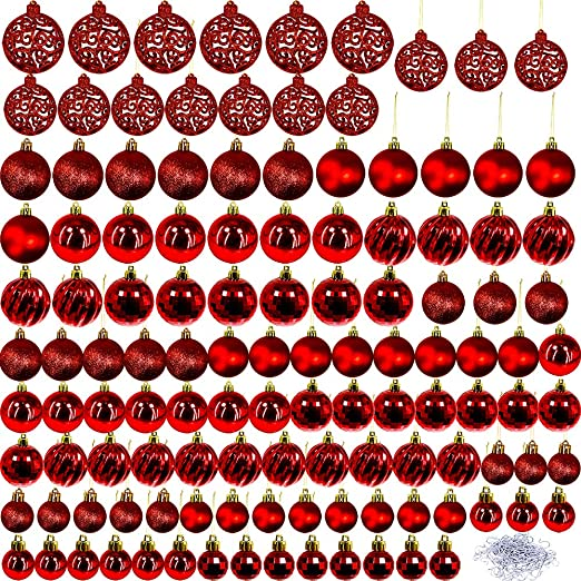 60 PCS Assorted White Green Red Sliver Christmas Tree Ball Ornaments 60 mm Classic Shatterproof Plastic Bulb Ornaments for Holiday Christmas Tree Skirt Wreath Decorations White Gift Box Included