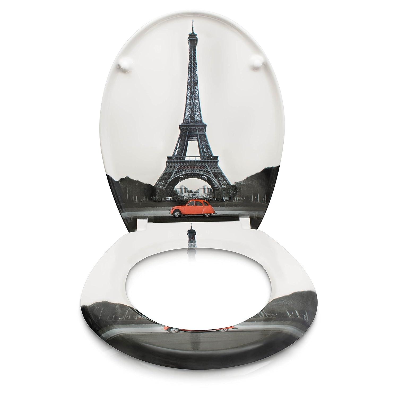 Couvercle de toilette avec motif et kit de montage Mod/èle Tour Eiffel Abattant de WC avec fermeture amortie