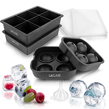 Lacari ® Eiswürfelform für perfekte Eiswürfel - 2 + 1 Silikonform für die perfekten Eiswürfel - Gratis E-Book + Trichter zum