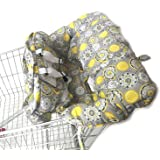 Shopping Cart Cover for Baby- 2-in-1 - Foldable Portable Seat with Bag for Infant to Toddler - Compatible with Grocery Cart Seat and High Chair - Includes Free Carry Bag (Gray Medallion)