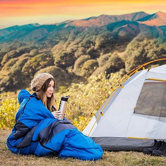 JEAOUIA Saco de Dormir para Acampar Compacto Ligero Saco de Dormir para Adultos Impermeable Interiores y Exteriores Compacto de 3 Estaciones para Senderismo Viajes