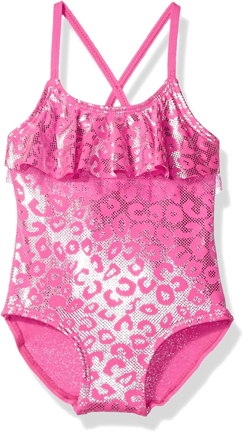 Pink Platinum Girls Inf Foil Cheetah Print One Piece Swimsuit