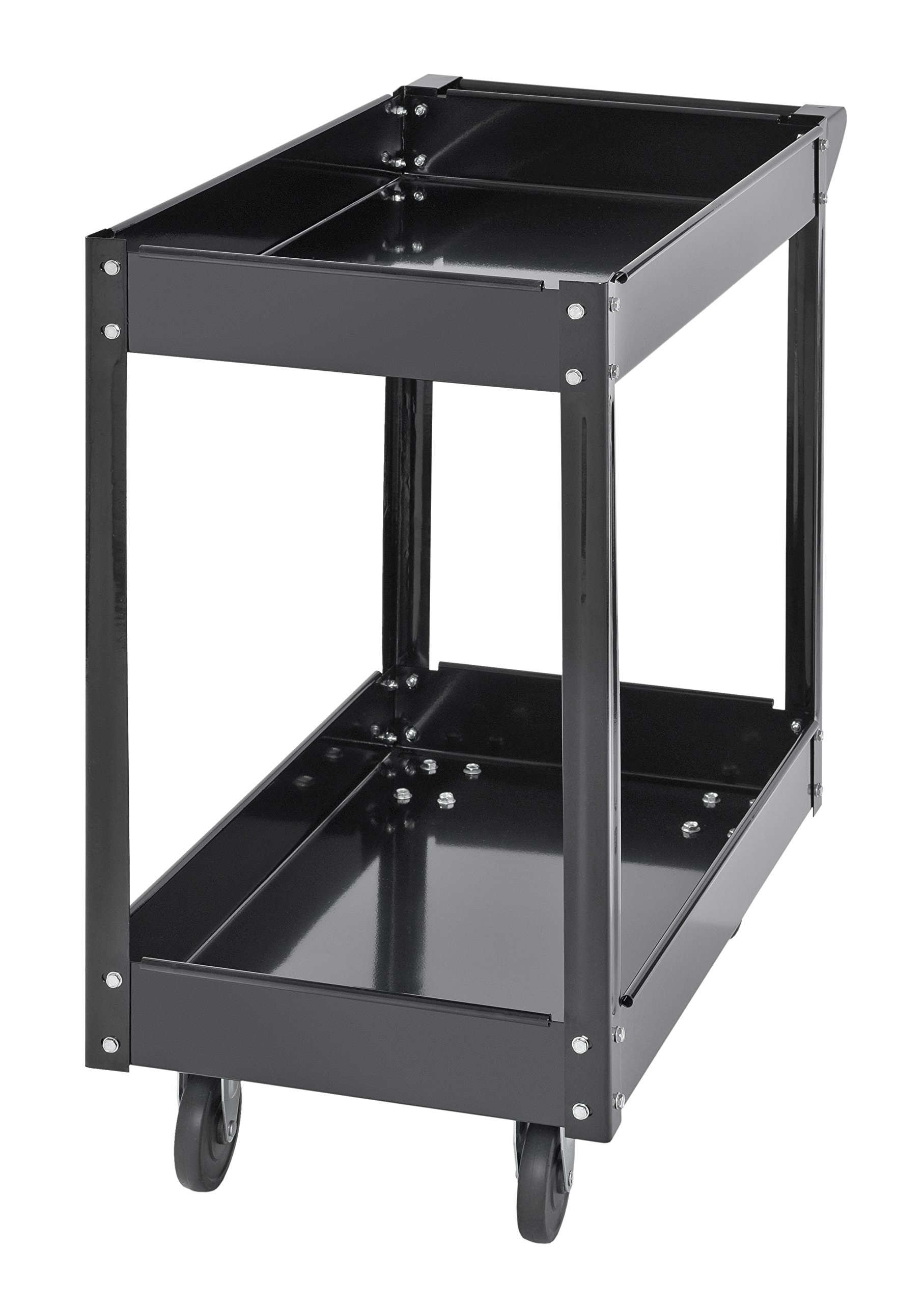 Muscle Rack SC3016 Industrial Black Commercial Service Cart, Steel, 220Lbs Capacity, 33'' Width x 30.5'' Height x 16'' Depth, 2 Shelves, 30.5'' Height, 33'' Width, 16'' Length by Muscle Rack (Image #2)
