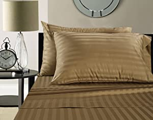 ADDY HOME FASHIONS Damask Stripe 100% Supima Cotton 500 Thread Count Hotel Quality Supima Luxury Cotton Sateen Deep Pocket Super Soft Sheet Set, King - Taupe