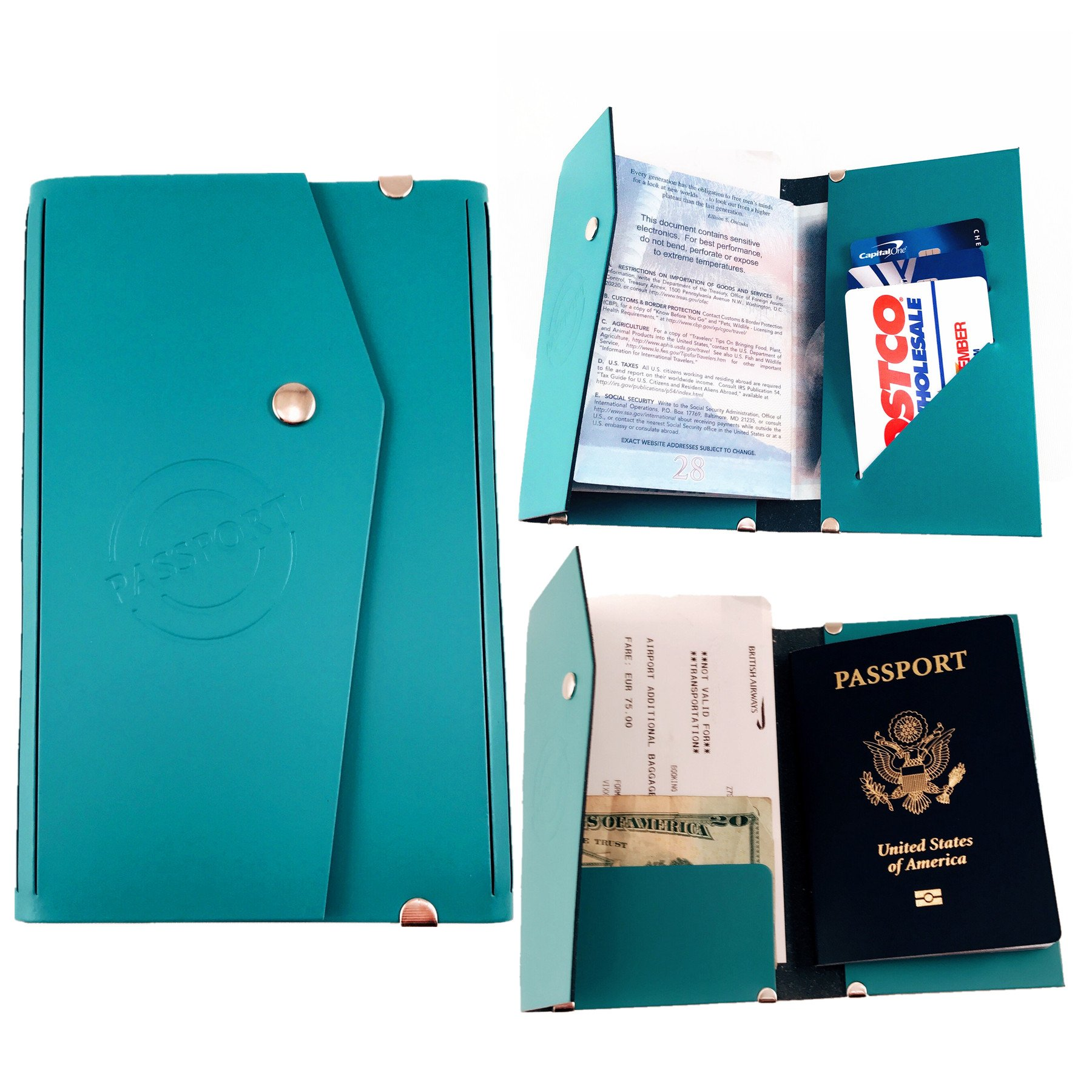 Luxury Leather Travel Passport Cover Holder Wallet with 3 Credit Card Slots Boarding Pass Holder by iSee Case Made in Italy (Blue)