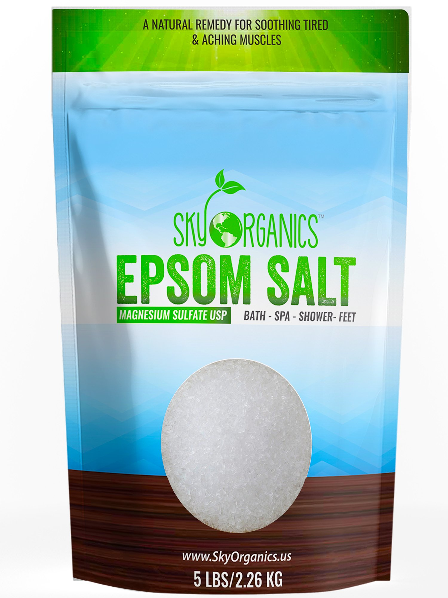 Epsom Salt By Sky Organics (5 LBS)- 100% Pure Magnesium Sulfate-Natural, USP Grade, Kosher, Non-GMO – Laxative, Muscle Tension Relief, Foot soak, Soothe Aches, Cleanses Skin. Made in USA