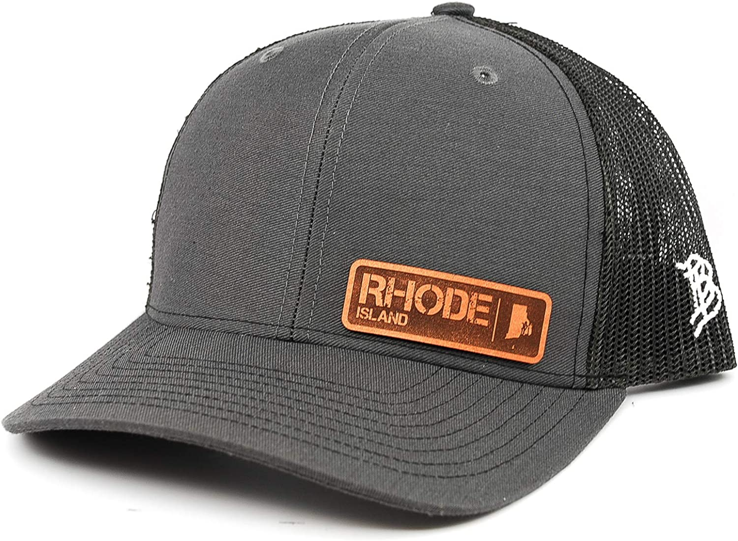 OSFA//Charcoal Branded Bills /'Rhode Island Native Leather Patch Hat Curved Trucker