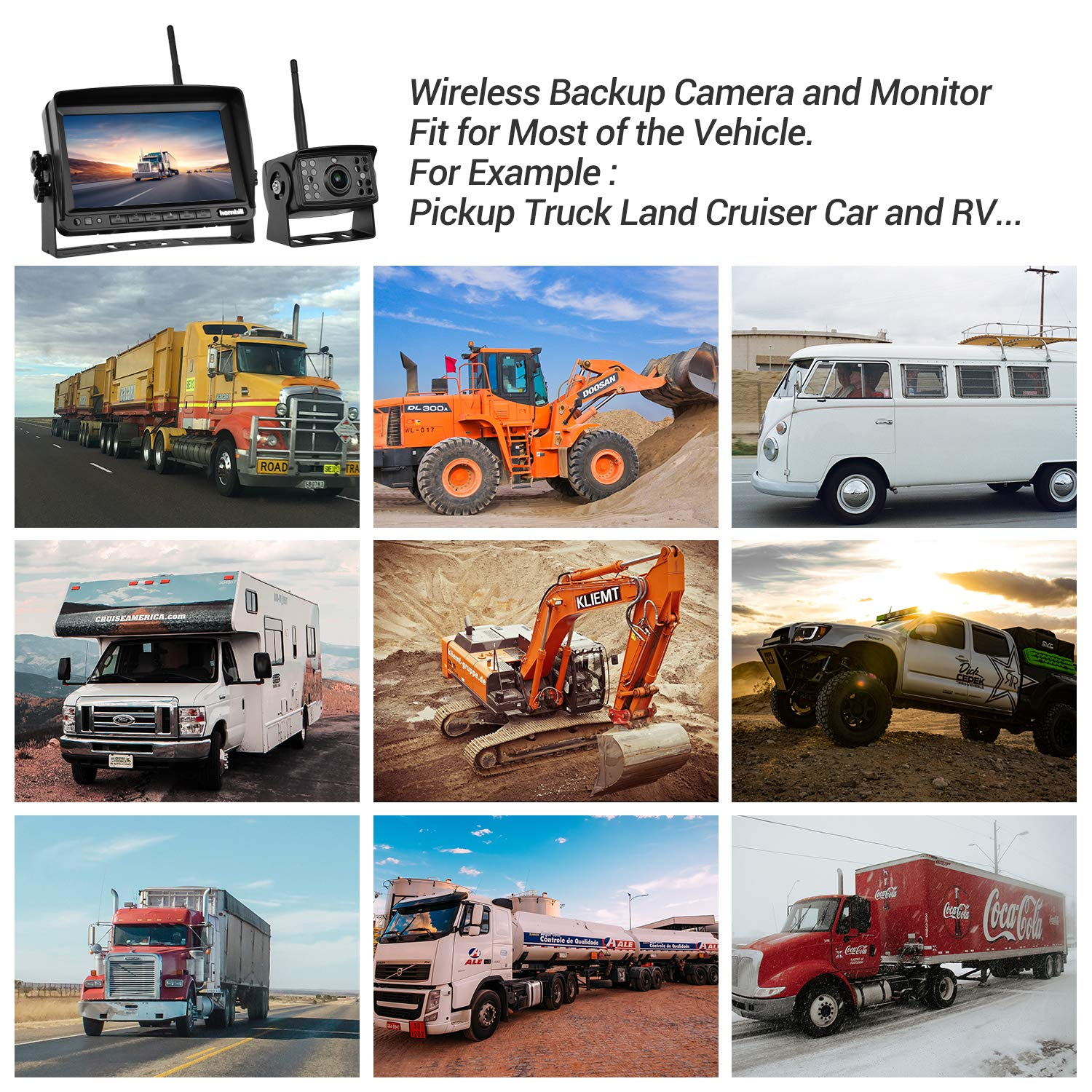 Wireless Backup Camera with Monitor System Split Screen for RV Rearview Reversing Back Camera No Interface IP69 Waterproof X2 Big 7 Wireless Monitor for Truck Trailer Heavy Box Truck Motorhome