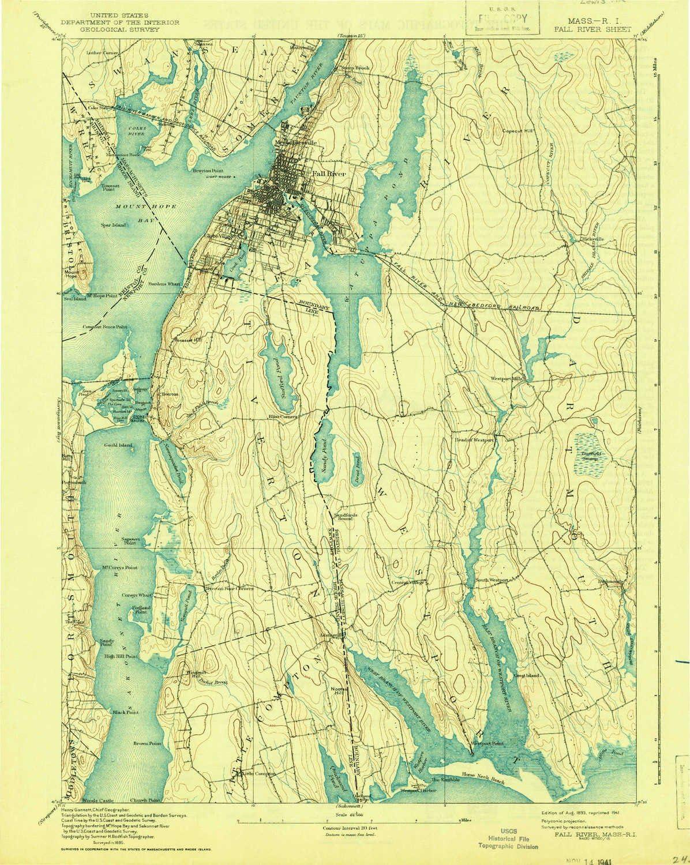 Amazon.com: YellowMaps Fall River MA topo map, 6:6 Scale, 65 X