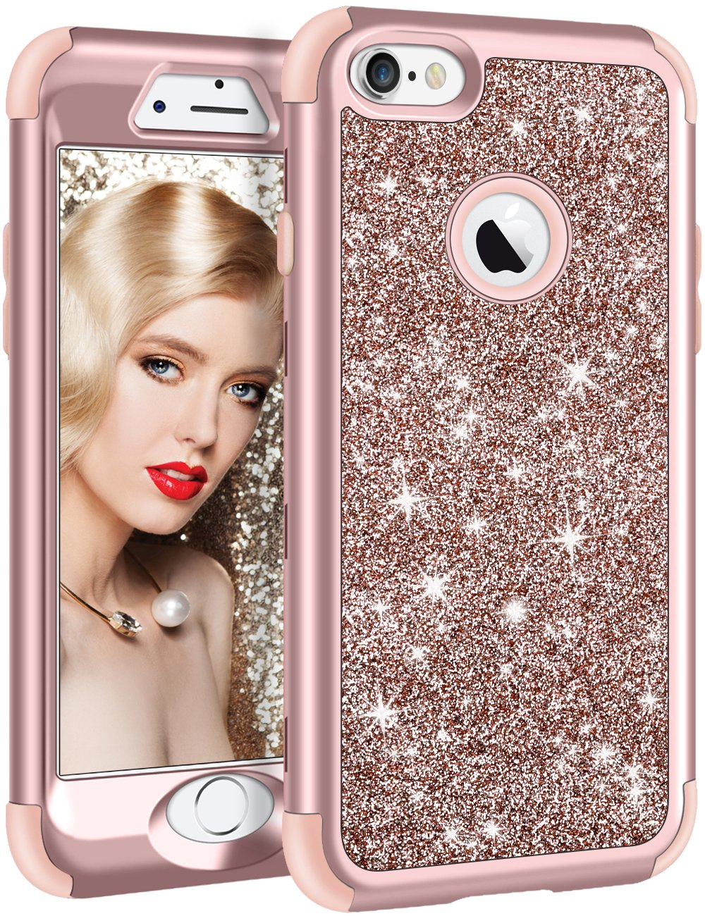 funda para iphone 6s plus, glitter rose gold