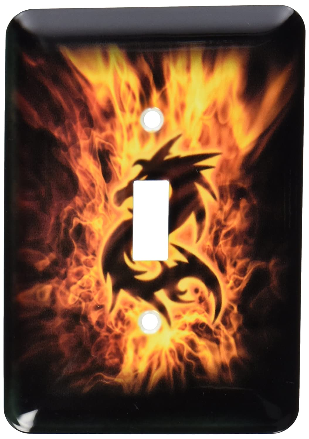 3dRose lsp_109847_1 Dragon Surrounded By Fire Single Toggle Switch
