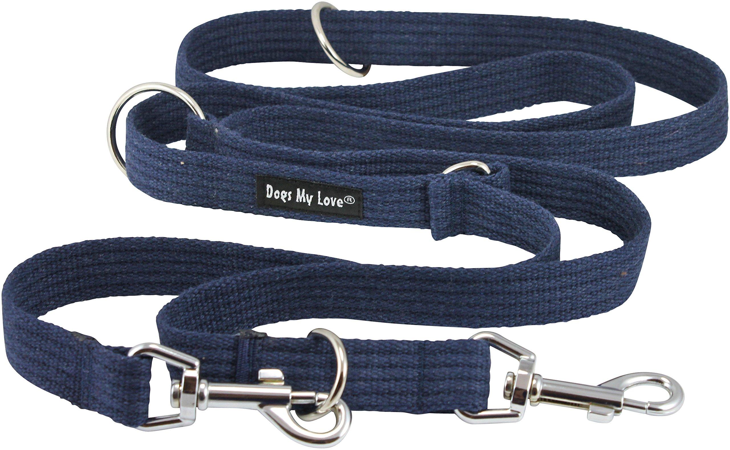 Dogs My Love 1'' Wide Cotton Web 6-Way European Multi-Functional Dog Leash, Adjustable Lead 45''-78'' Long, Large (Blue)