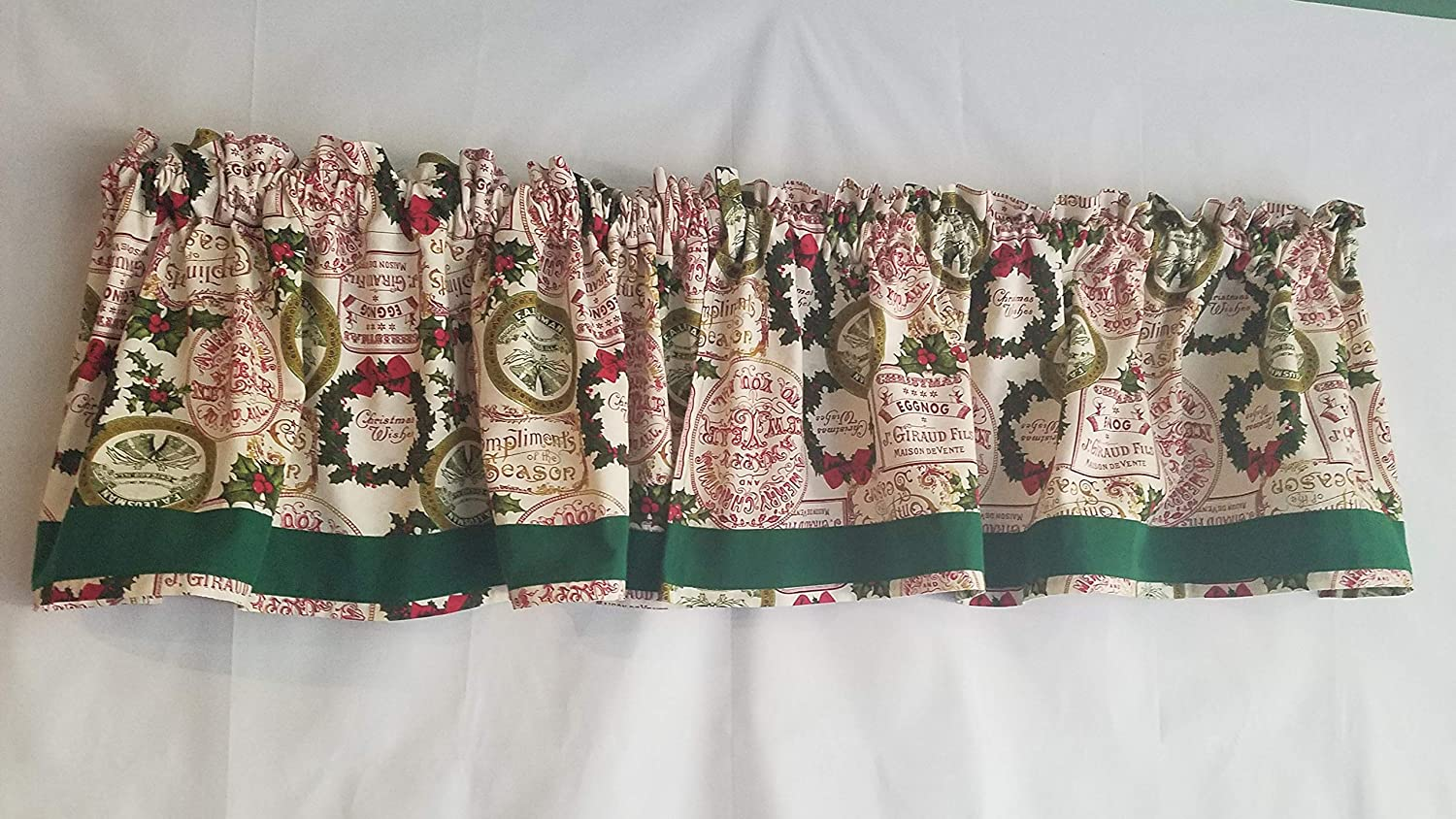 Christmas Bells Christmas Curtain Valance Green and Red Curtains 42-43 Inches Wide x 14.25 Inches Long Festive Christmas Curtain Vintage Christmas Curtain Valance Wreaths