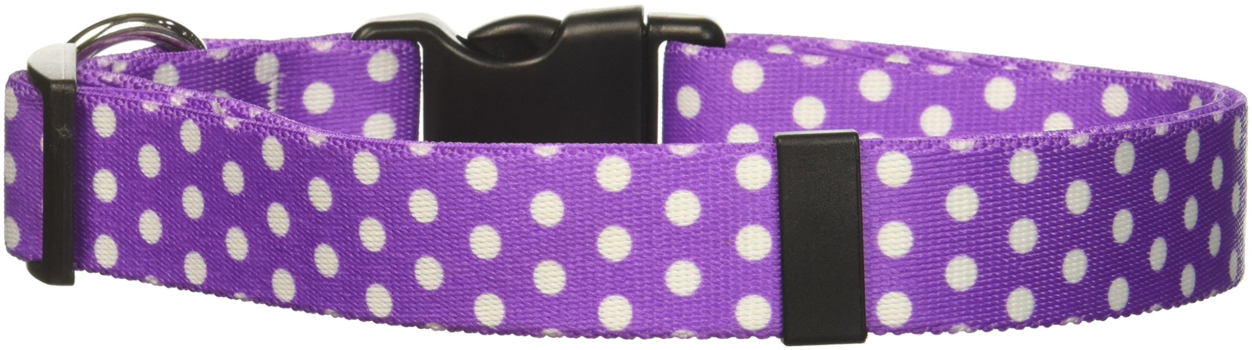 Yellow Dog Design Standard Easy-Snap Collar, New Purple Polka Dot, Large 18'' - 28''