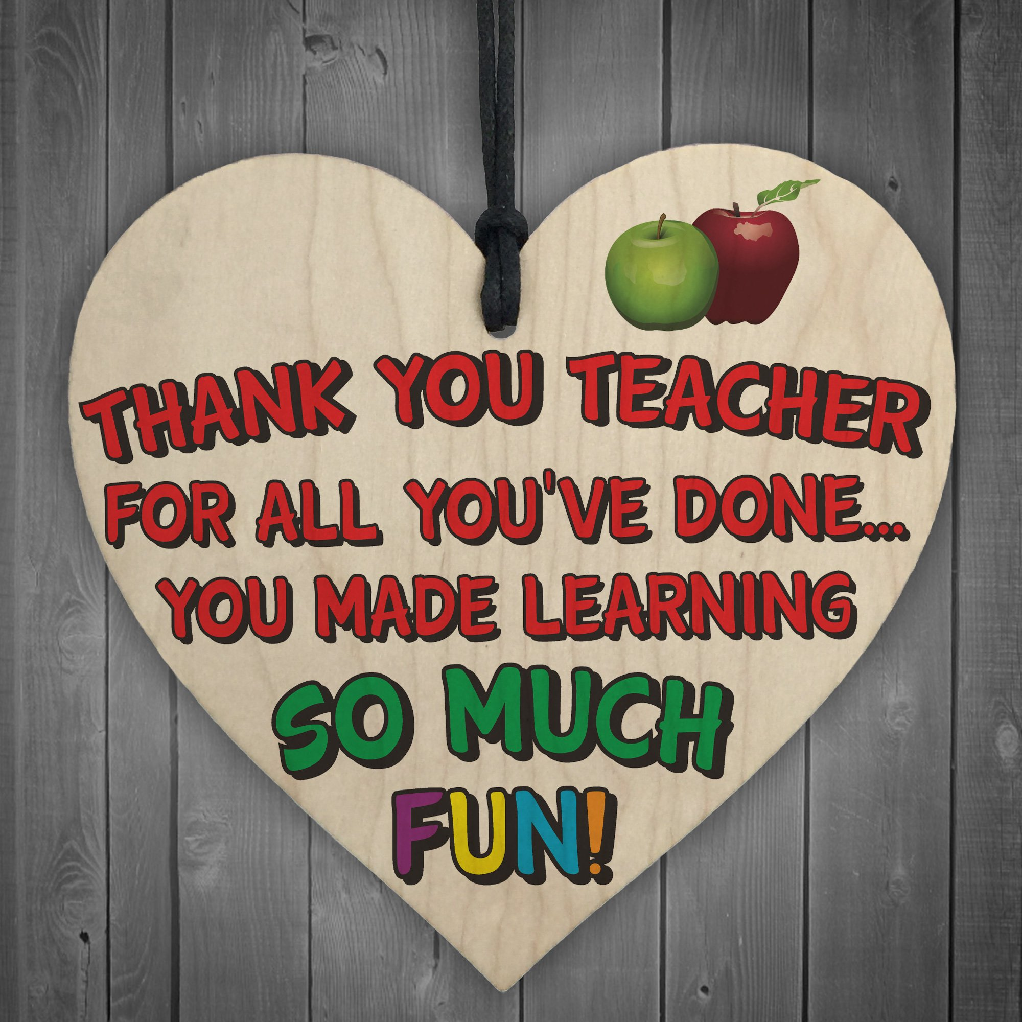 XLD Store Thank You Teacher - Wooden Hanging Heart School Student Exam Tutor Nursery Gift
