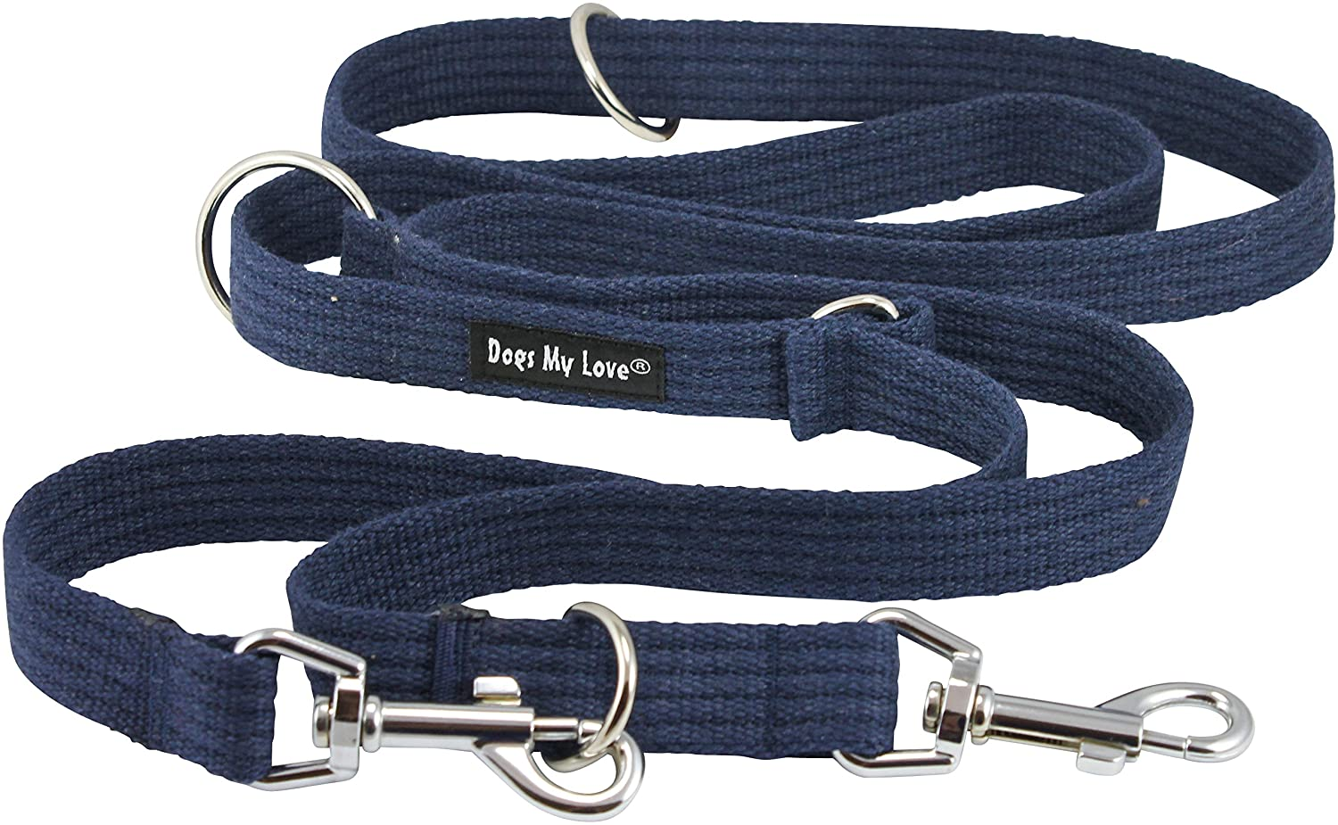 bluee 1  Wide Organic Cotton Web 6-Way European Multi-functional Dog Leash, Adjustable Lead 45 -78  Long, Large (bluee)