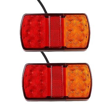 Luces traseras LED, syyl 2 piezas 12 V 12 LED faros traseros Luces posición LED bombillas indicadores de aparcamiento para vehículos Remolque autocaravanas ...