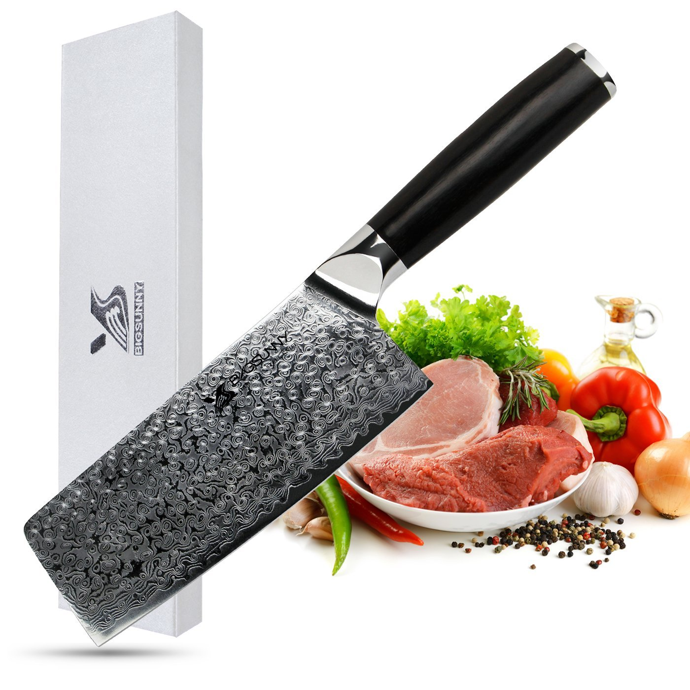 MSY BIGSUNNY 6.6 inch Butcher Knife 67 Layers Damascus Steel Slicing knife Nakiri Knife Chinese Cleaver with Ebony Handle by MSY BIGSUNNY