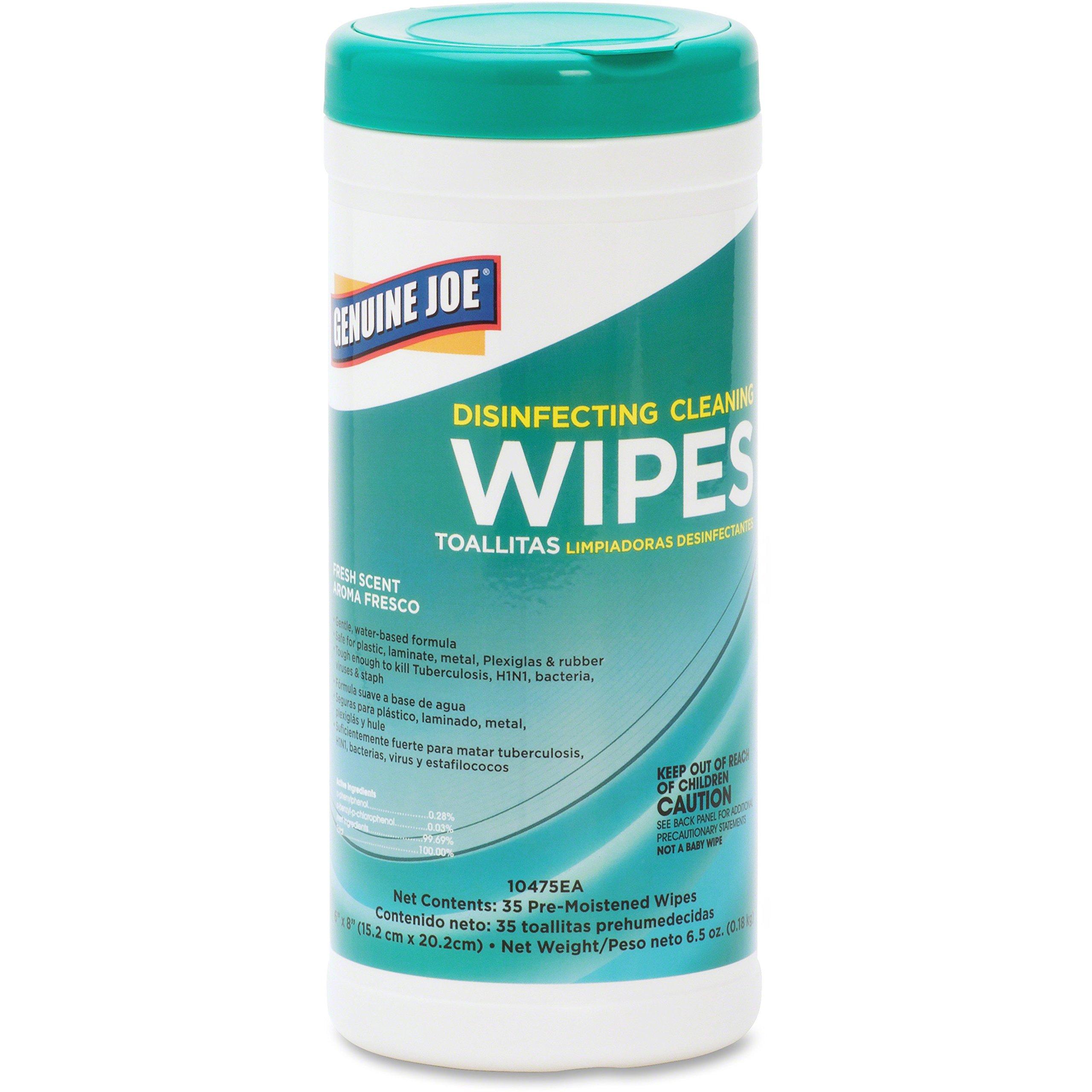 Genuine Joe 10475EA Disinfecting Cleaning Wipes, 35 Shts/Tub, Fresh Scent