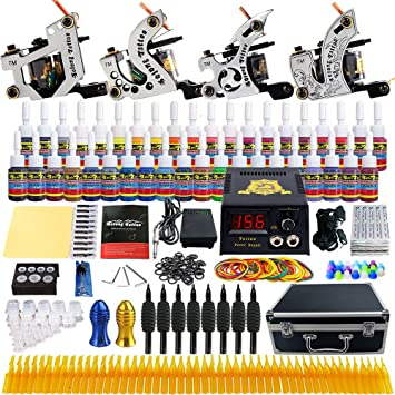 Amazon solong tattoo complete starter beginner tattoo kit 4 pro solong tattoo complete starter beginner tattoo kit 4 pro machine guns 54 inks power supply foot solutioingenieria Image collections