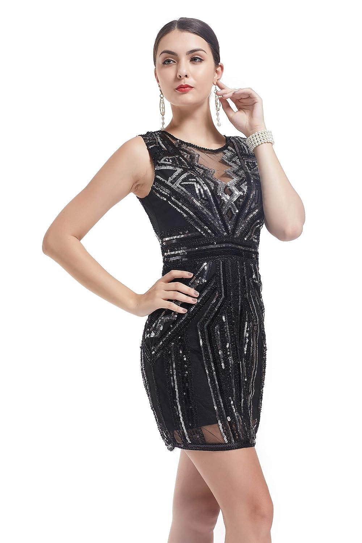 KILOLONE 1920er Kleider Damen Gatsby Abendkleid Cocktail Party Damen 20er Jahre Kost/üm Kleid