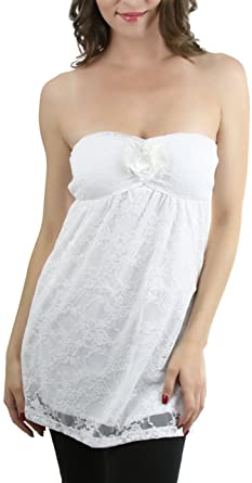 c5468f9352 ToBeInStyle Women s Elastic Lace Decorated Tube Top - White - Small