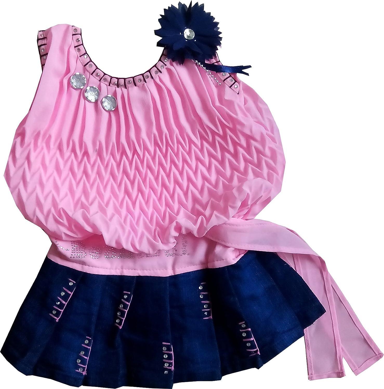 SN Baby Girls Frock Plating Midi Skirt Dresses Set for 3