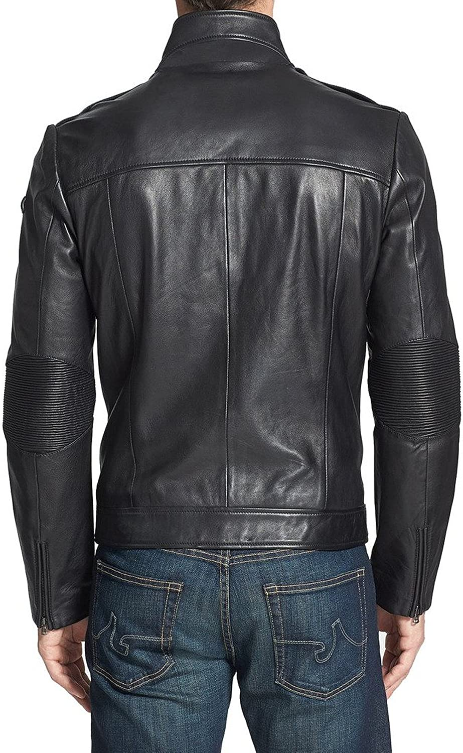 New Mens Leather Jacket Slim fit Biker Motorcycle Genuine Cow Leather Jacket LFC579 XXXL Black