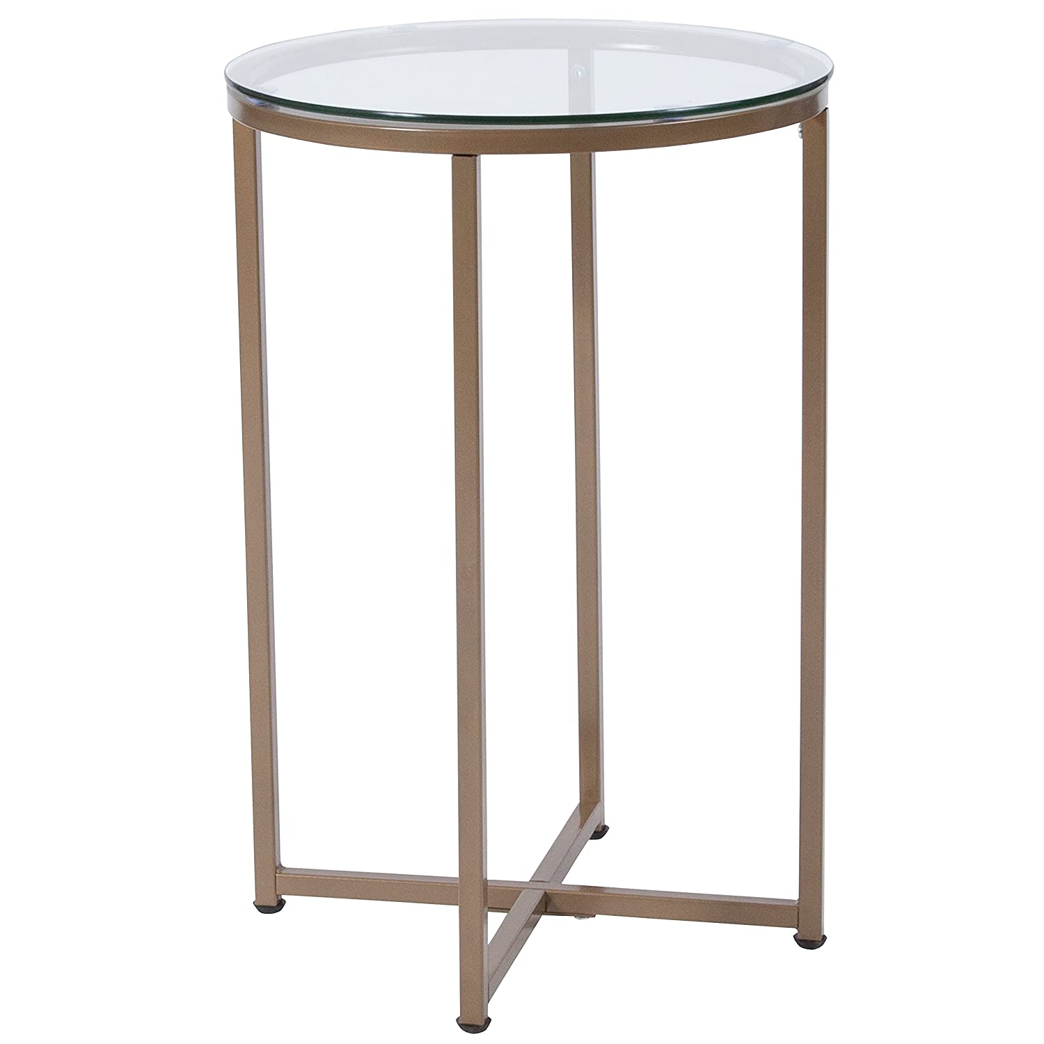 Flash Furniture Greenwich Collection Glass End Table with Matte Gold Frame NAN-JH-1786ET-GG