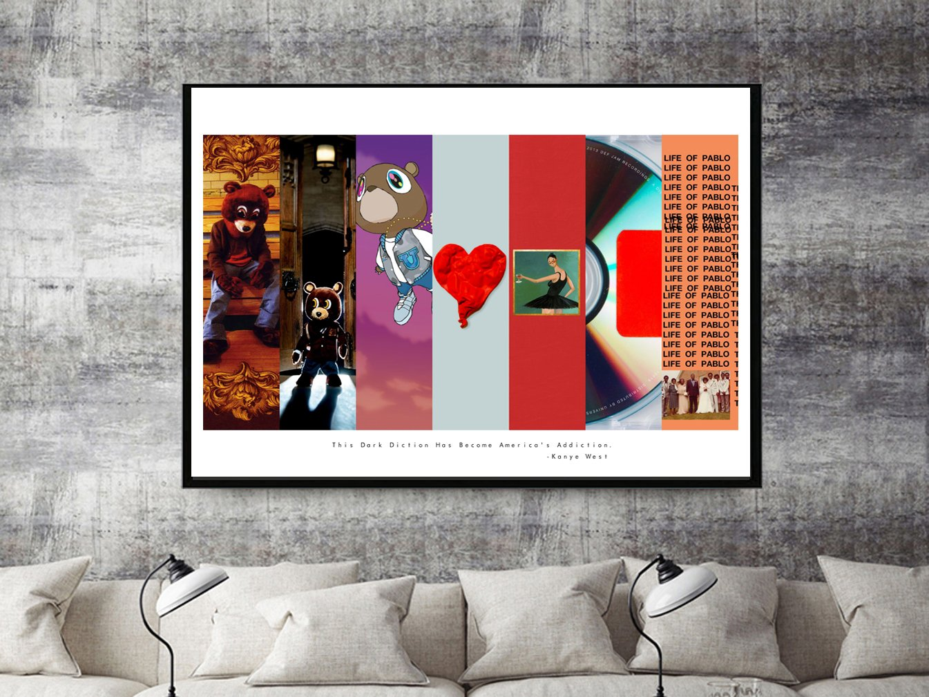 Amazon Custom Kanye West Art Collage Poster TLOP Pablo Song Lyric Quote Digital Print 12x18 Living Room Bed FRAME NOT INCLUDED Posters