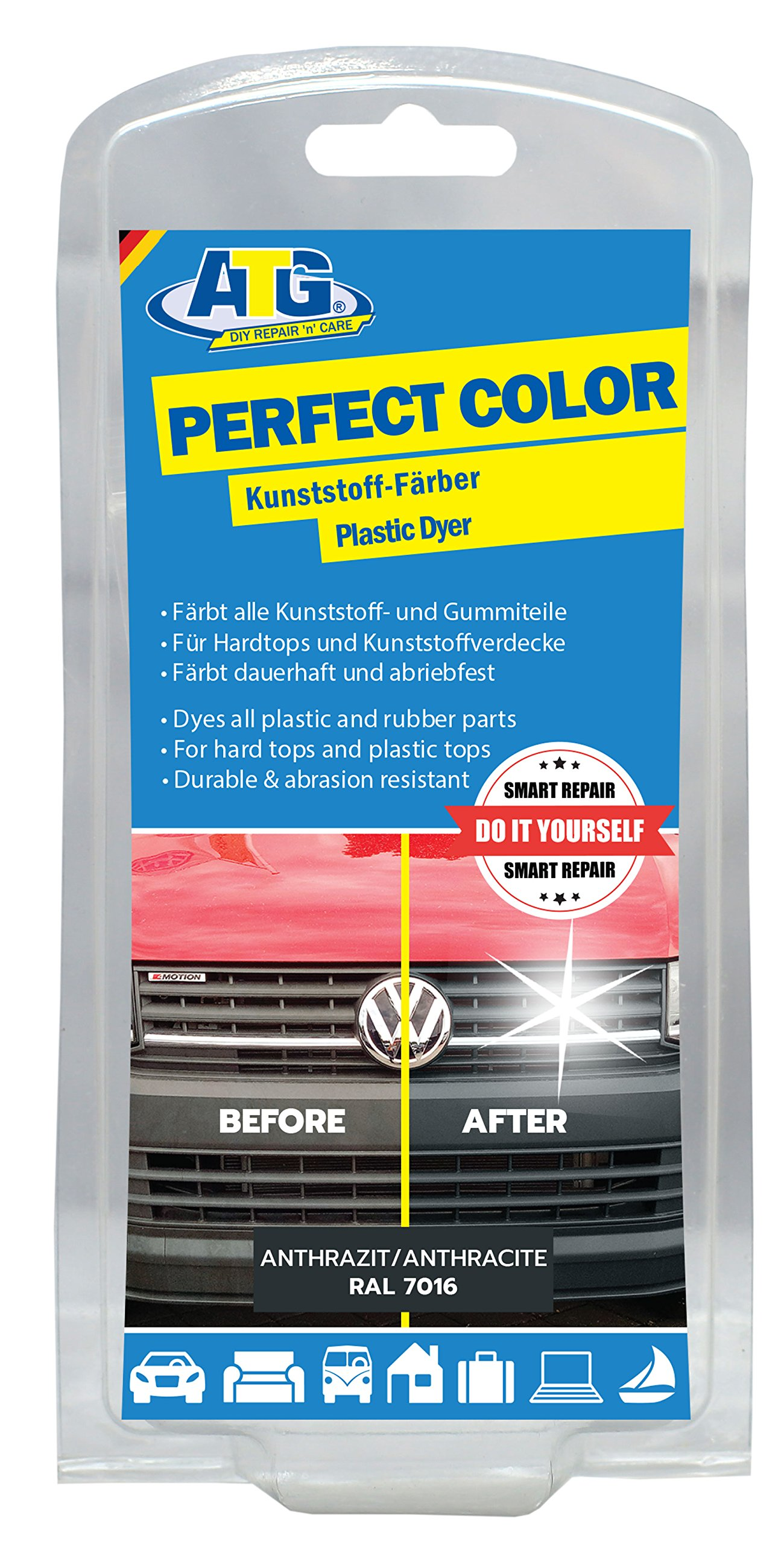 ATG Plastic Trim Restorer and Dye Anthracite - Gives Rubber, Vinyl and Plastic Life & Brings Back The Shine!
