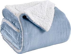 Premium Reversible Sherpa and Fleece Velvet Plush Blanket. Fuzzy, Soft, Warm Berber Fleece Bed Blanket. Kinsley Collection (Full/Queen, Powder Blue)