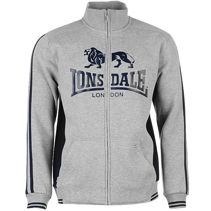 Lonsdale 2 diseño de Rayas Full Zip Sudadera para Hombre Gris Marl ...