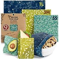 Reusable Food Wraps w/ Beeswax Assorted 9 Packs - Eco-Friendly Reusable Wraps, Biodegradable, Zero Waste, Organic…
